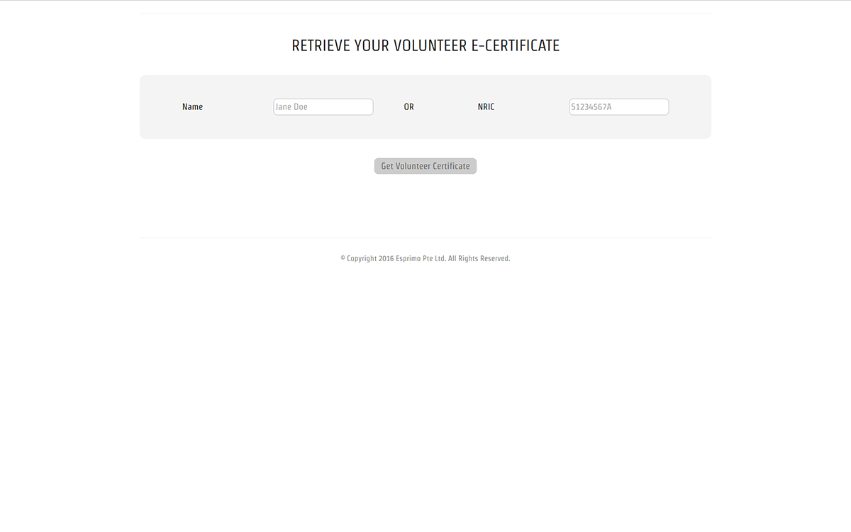 Sample Volunteer Certificate Download Page