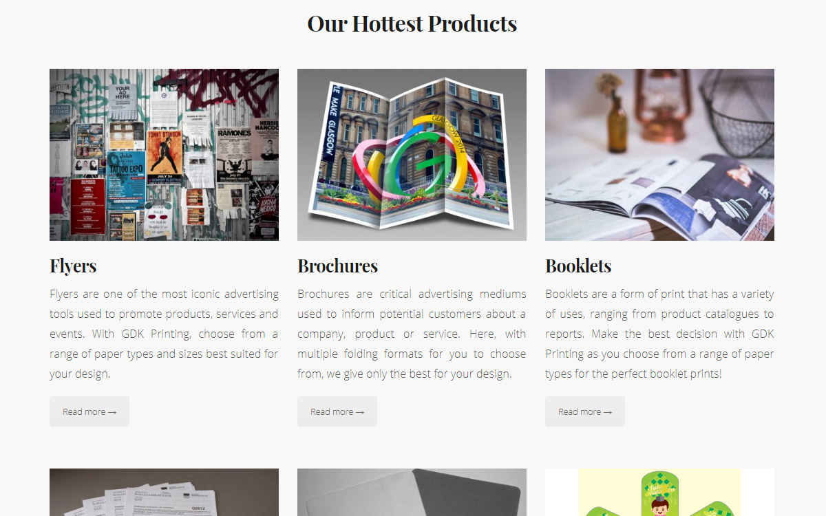 Product Listing — GDK Printing