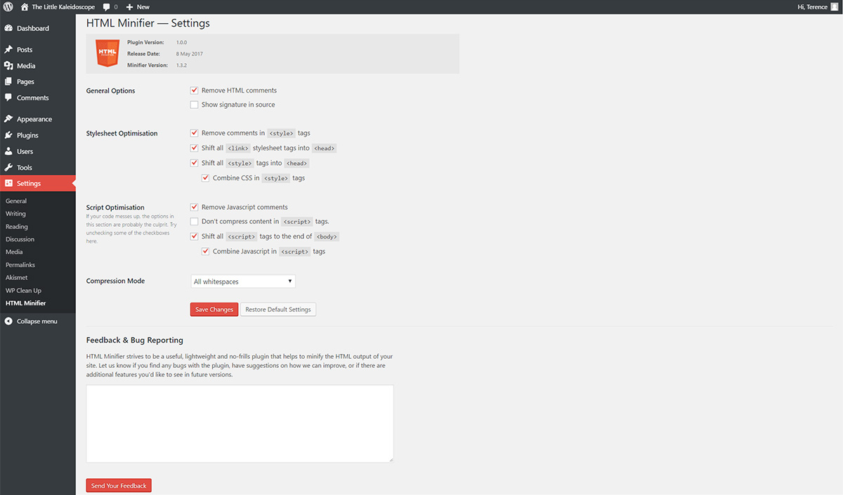 Settings Page for WordPress Plugin